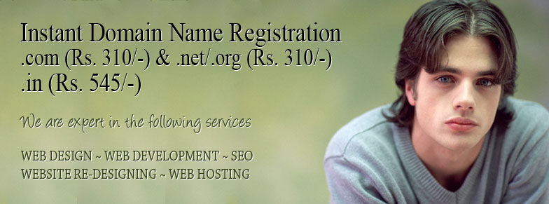 Instant Domain Name Registration (.com / .net .org or .in)